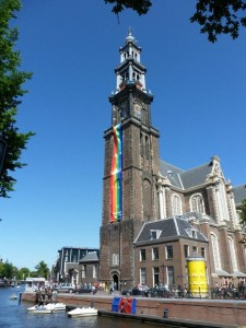 The Dutch Reform church a few buildings down from Anne Frank's house displays proudly flies a gay pride banner.