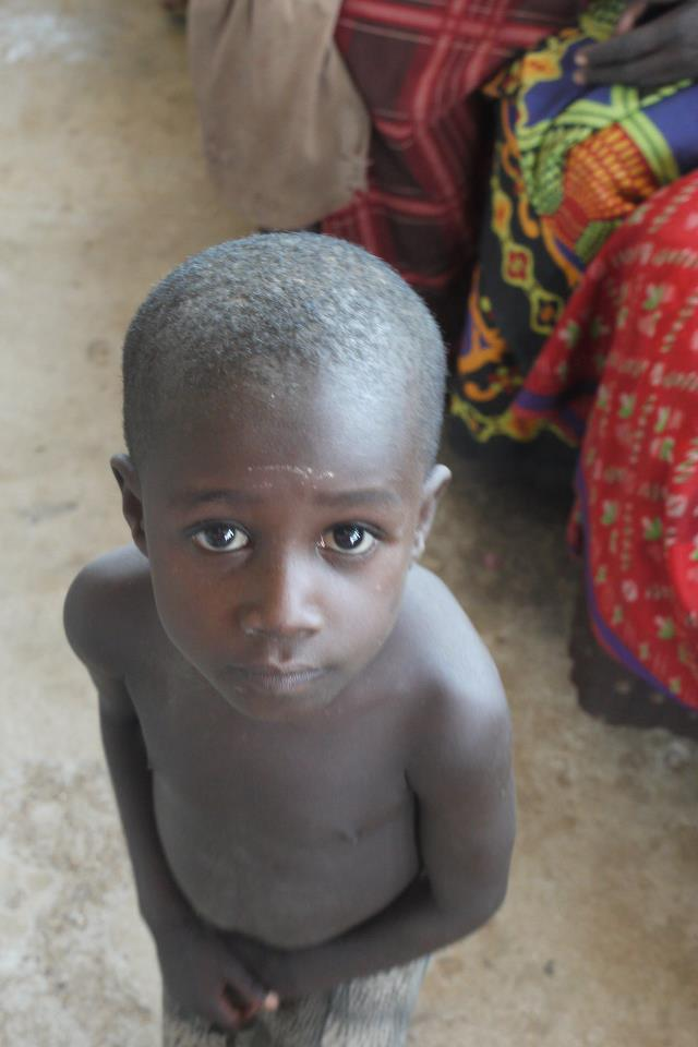 A boy at a health clinic in Kenya