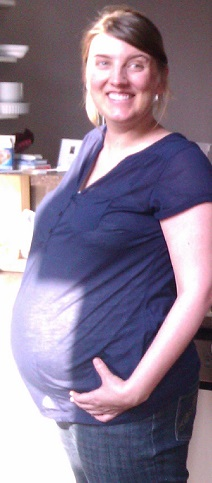 My belly at 9 months pregnant